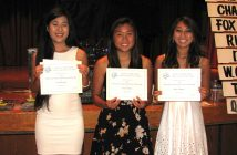 From left: Scholarship recipients Lani Hisayasu, Alyssa Ishigo and Maile Yanguas.
