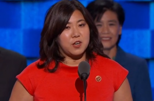 Rep. Grace Meng of New York, the first Asian American elected to Congress from the East Coast, addresses the Democratic National Convention. Behind her is Rep. Judy Chu of Pasadena, CAPAC chair. (NBC News)