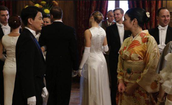 "Toshiaki Karasawa and Koyuki as Chiune and Yukiko Sugihara in a scene from ""Persona Non Grata."""