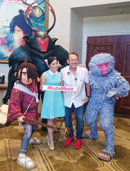 """On Aug. 10 at Universal Studios, Alpha Takahashi, who voices Aiko in """"Kubo and the Two Strings,"""" visited with Laika CFO Bradley Wald and the characters Kubo, Beetle and Monkey."""