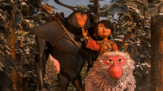 """Kubo, Beetle and Monkey in a scene from """"Kubo and the Two Strings."""""""