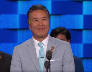 "Rep. Mark Takano of Riverside, the first openly gay person of color elected to Congress, addresses the Democratic National Convention as a proud ""gaysian."" (ABC News)"
