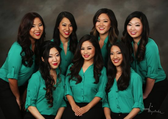 The 2016 Nisei Week Queen candidates: (back row, from left) Julia Tani, Jaclyn Tomita, Megan Ono, Shannon Tsumaki; (front row, from left) Kaya Minezaki, Heather Iwata, April Nishinaka.