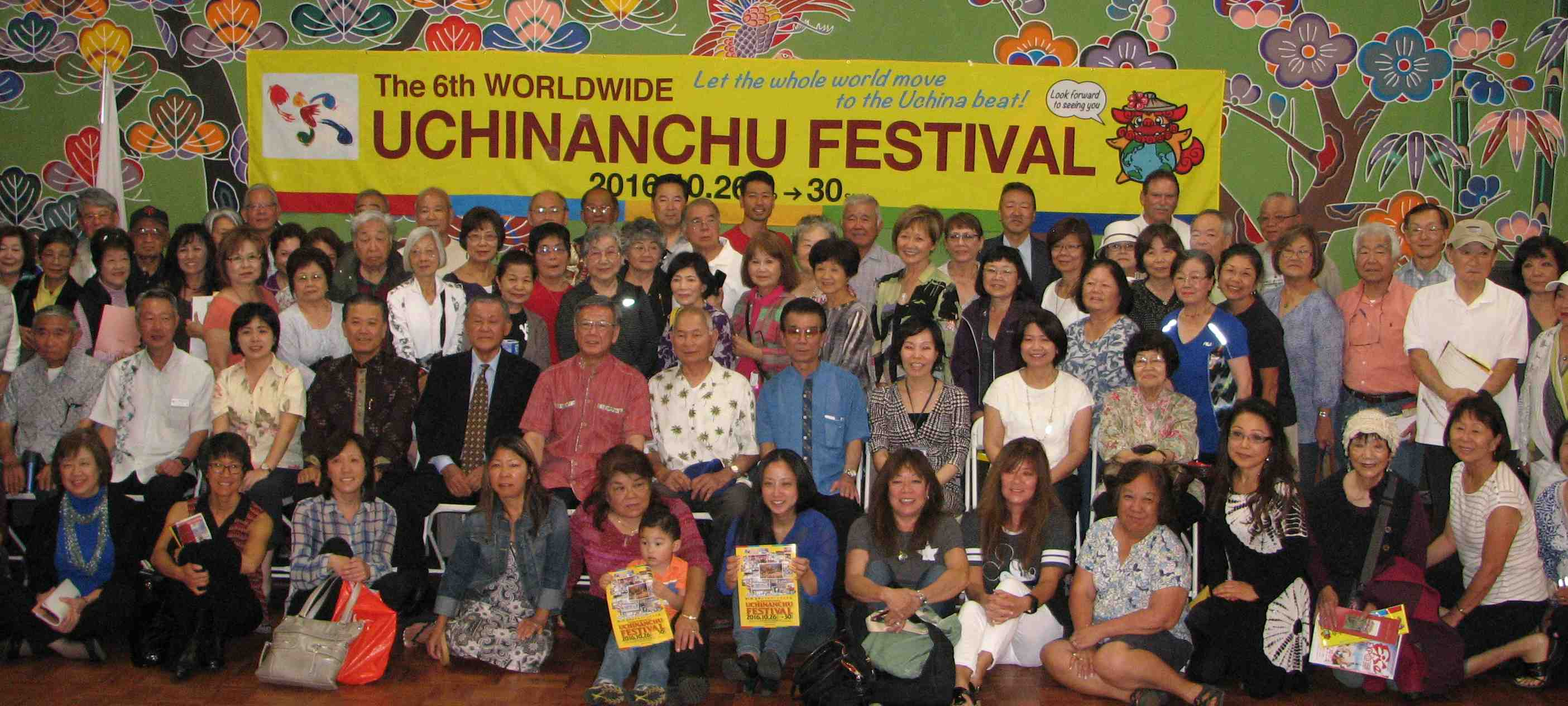 Okinawa Prefecture Gov. Atsushi Onaga and his delegation visited OAA in May to promote the Worldwide Uchinanchu Festival. (J.K. Yamamoto/Rafu Shimpo)