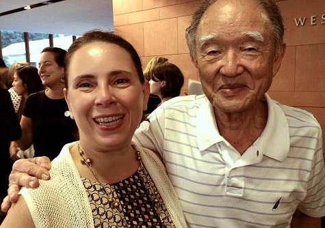 Dr. Gloria Montebruno Saller with atomic bomb survivor Junji Sarashina.