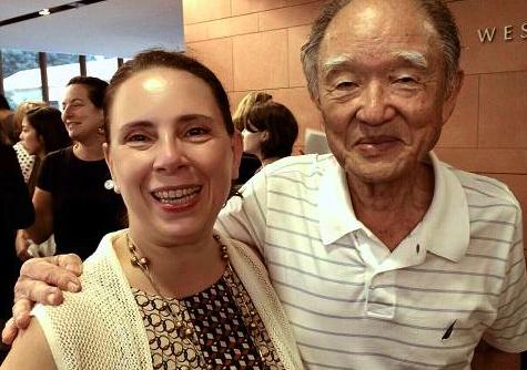 Dr. Gloria Montebruno Saller with atomic bomb survivor Junji Sarashina.
