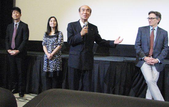 "From left: Yuji Sasaki, Miyuki Sohara, Masahiro Sasaki and Clifton Truman Daniel spoke after a screening of ""Orizuru 2015"" in West Los Angeles. (J.K. YAMAMOTO/Rafu Shimpo)"