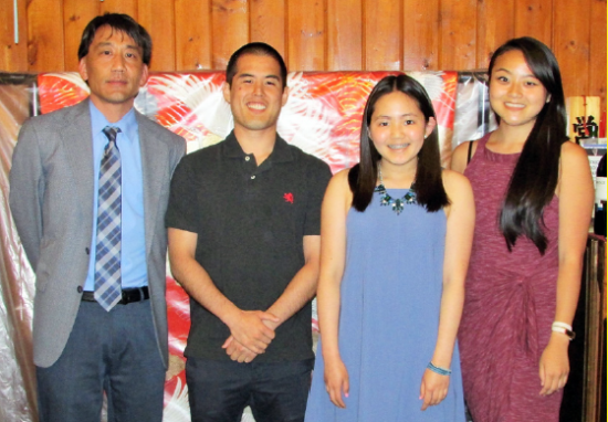 From left, chapter president John Saito, scholarship recipients Jeffrey Fujimoto and Emily Lui, and 2014 Miss Western L.A. Steffi Fukunaga.