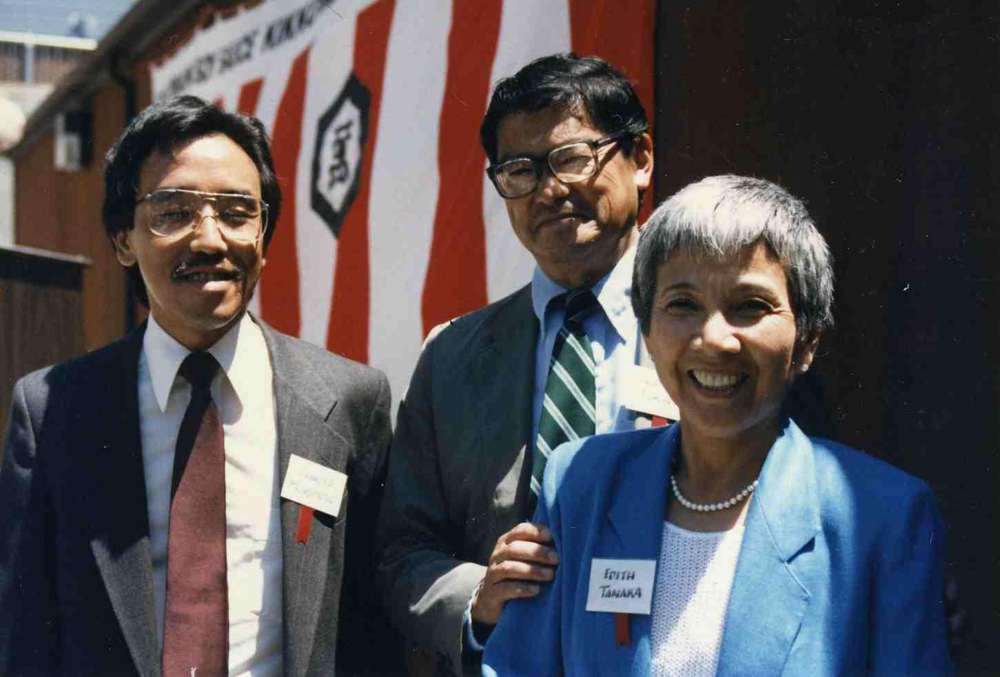 Honorees Edith Tanaka and Nob Fukuda with former JCCCNC Executive Director Charlie Morimoto