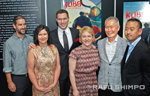 "Cast and crew of ""Kubo and the Two Strings"" assembled last Thursday at the Japanese American National Museum, as actor George Takei donated a figure of the character he voiced in the film to the museum. From left, animation supervisor Brad Schiff, costume designer Deborah Cook, director Travis Knight, producer Arianne Sutner, Takei, and Japanese consultant Taro Goto. (MIKEY HIRANO CULROSS/Rafu Shimpo)"