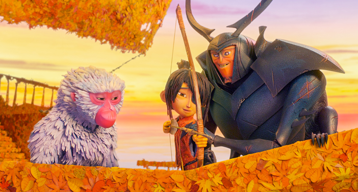 "Monkey (left, voiced by Charlize Theron) watches as Beetle (Matthew McConaughey) teaches Kubo (Art Parkinson) how to fish with a bow and arrow in animation studio Laika's animated action-adventure ""Kubo and the Two Strings."" The stop-motion family feature has drawn praise for its art, but jeers for its mostly white cast for a story set in Japan, about Japanese characters. (Laika Studios/Focus Features)"