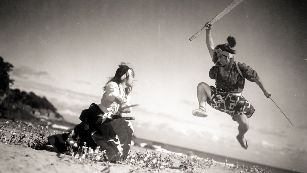 "Koji Tsuruta and Toshiro Mifune in a scene from ""Samurai Trilogy,"" directed by Hiroshi Inagaki."