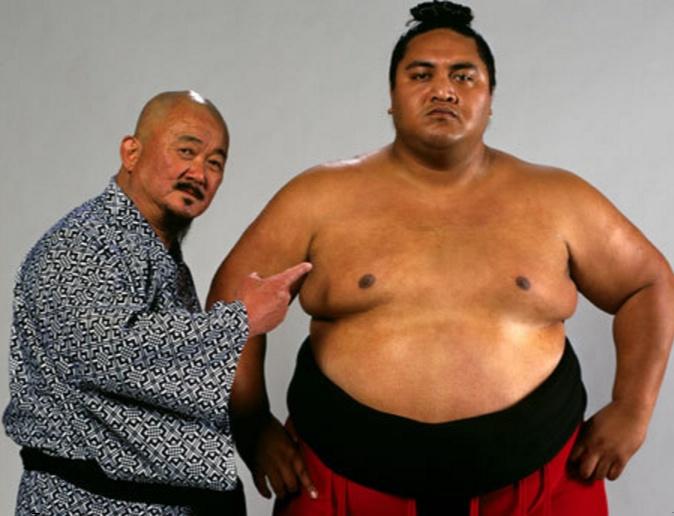 Mr. Fuji with Yokozuna (Rodney Agatupu Anoaʻi, 1966-2000).