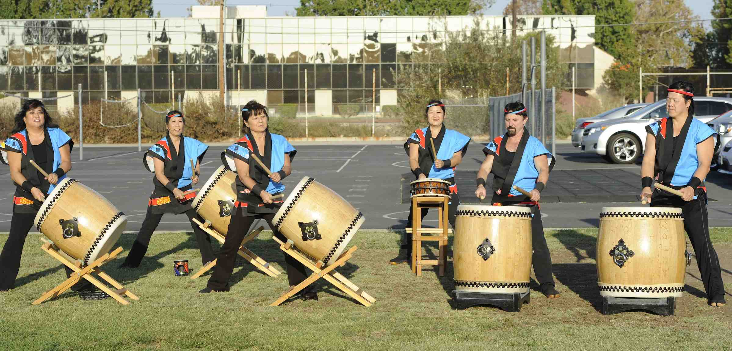 The program opened with drumming by Hikari Taiko. (Photo by Mark Savage)