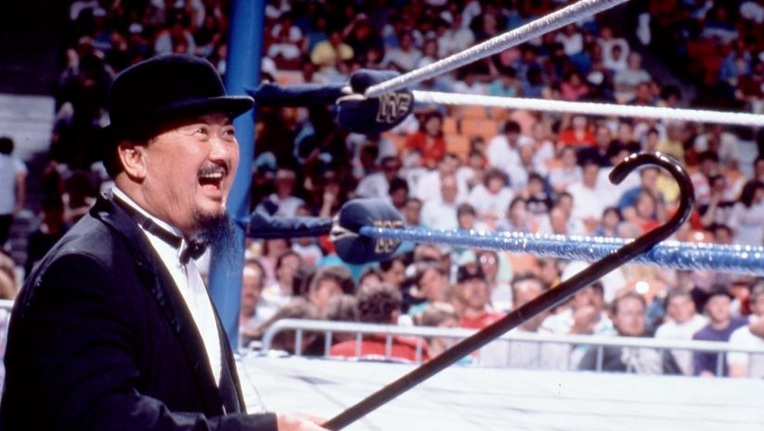 "Mr. Fuji's costume as manager was similar to that of the Oddjob character from the James Bond movie ""Goldfinger."""