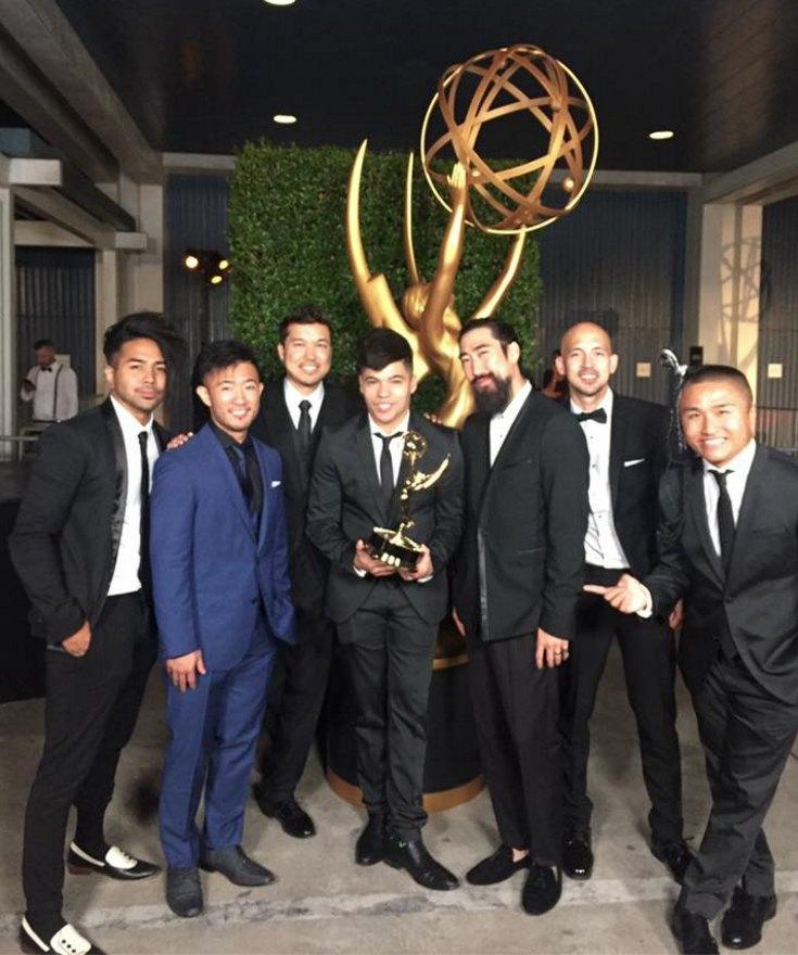 From left: Ryanimay Conferido, Steve Terada, Brian Hirano, Dominic Sandoval, Ryan Feng, Joseph Lee and Hokuto Konishi of Quest Crew celebrate their Emmy win.