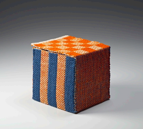 """Paired Box,"" c.1990s, orange, blue, and natural linen; double weave pickup. Collection of Forrest L. Merrill. Photo: M. Lee Fatherree"