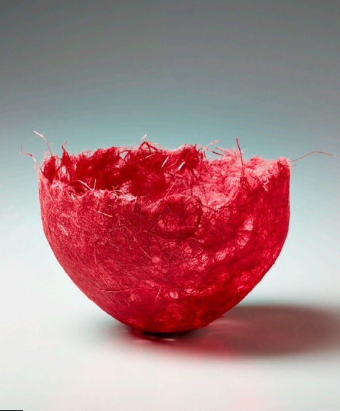 """Red Bowl,"" c. 1990s, special handmade Japanese paper; laminated, Krylon coated. Collection of Forrest L. Merrill. Photo: M. Lee Fatherree"