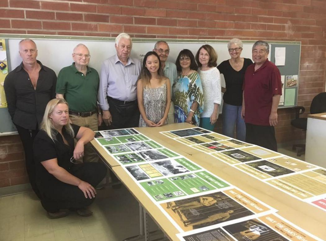 Members of the Tuna Canyon Detention Station Coalition include (kneeling) John Crammay; (standing, from left) Robin Rout, designer, Bill Skiles, Hans W. Eberhard, Kara Tanaka, Lloyd Hitt, June Aochi Berk, Karen Zimmerman, Sigrid Toye and Kay Oda.