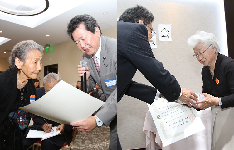 県から高齢者表彰される山崎ハルさん(写真左)と岡内千恵子さん(同右)