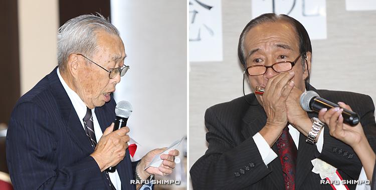 歌を披露する町川さん(写真左)とハーモニカを演奏する國宗会長(同右)