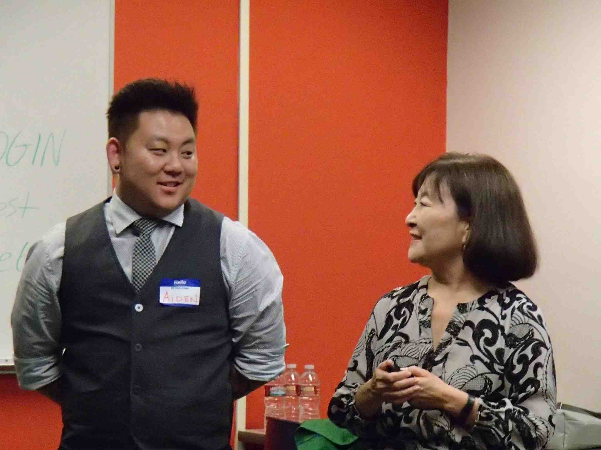 Aiden and Marsha Aizumi speaking at the API LGBTQ Gathering in Seattle.