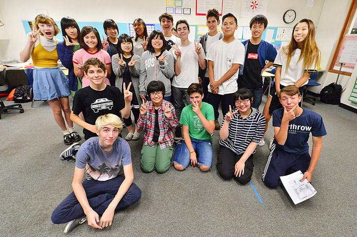 ジョン・ミューア中学の生徒と交流した礼文高校の生徒たち
