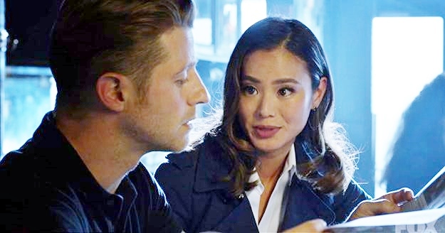 "Valerie Vale (Jamie Chung) and Jim Gordon (Ben McKenzie) on ""Gotham."""