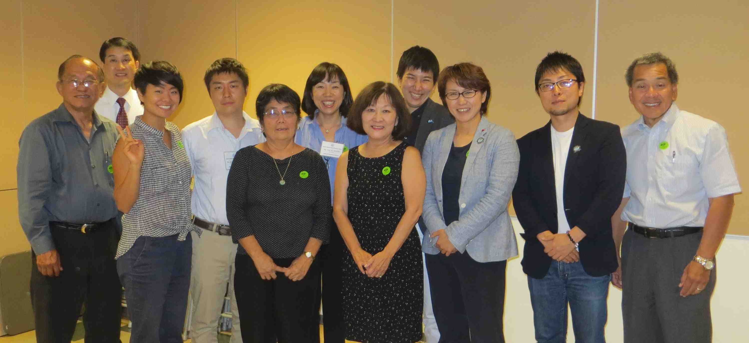 An LGBTQ delegation from Japan met with Okaeri representatives (from left) Harold Kameya, Alex H. Fukui, traci ishigo; (front and center) Ellen Kameya, Marsha Aizumi; (right) Rev. Mark Nakagawa.