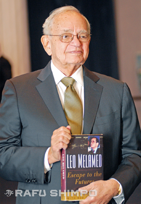 "Leo Melamed shows his memoir, ""Escape to the Futures,"" Tuesday night in Beverly Hills."