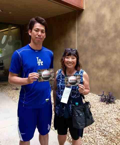 Filmmaker Yuriko Gamo Romer with the Los Angeles Dodgers' Kenta Maeda.