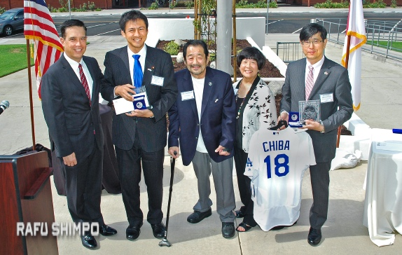 Attending the Sept. 22 cherry blossom tree dedication at Alhambra City Hall (from left): City Manager Mark Yokoyama, Japanese Parliamentary Vice Minister for Foreign Affairs Shunsuke Takei, Councilmember Gary Yamauchi, Linda Yamauchi, Japanese Consul General Akira Chiba. (MIKEY HIRANO CULROSS/Rafu Shimpo)