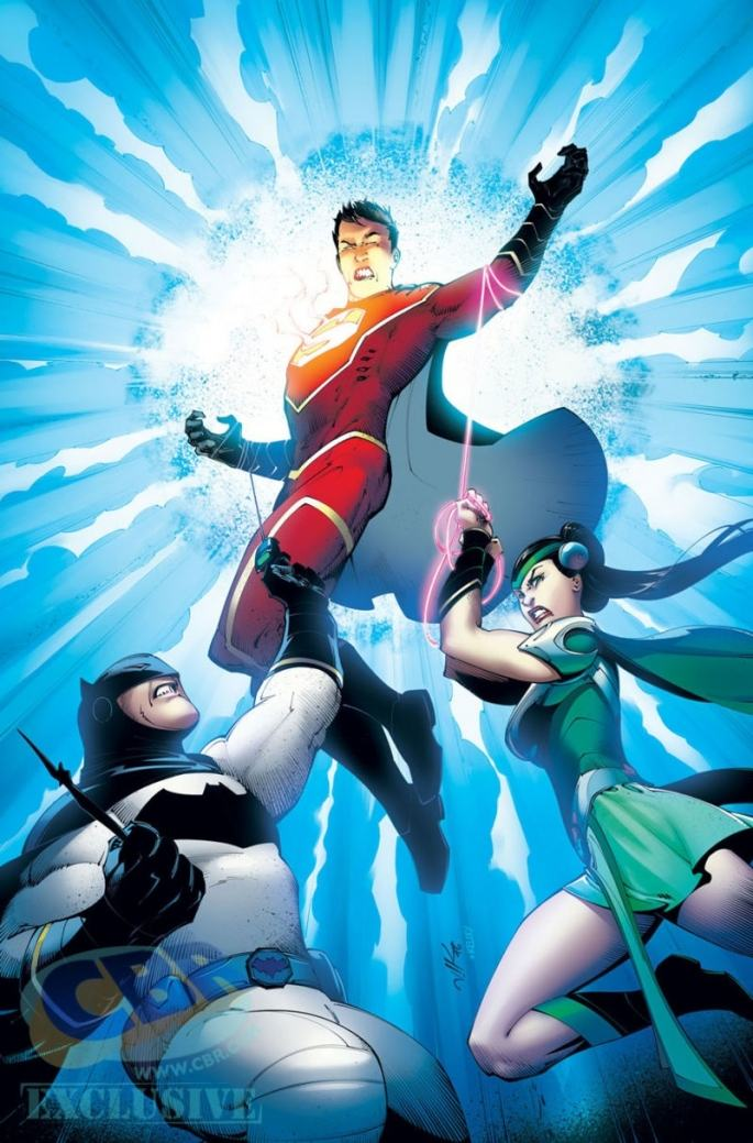 "The Chinese versions of Superman, Batman and Wonder Woman in DC Comics' ""New Super-Man."""