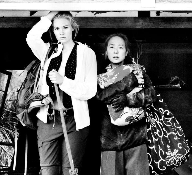 "Rosalie Thomass and Kaori Momoi in a scene from Doris Dörrie's ""Fukushima, Mon Amour."""