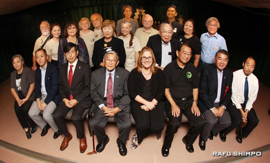Front row, from left: Ellen Endo, Consul Shigeru Kikuma, Consul General Akira Chiba, Secretary Norman Mineta, JANM Interim President/CEO Ann Burroughs, SFVJACC President Paul Jonokuchi, Terry Hara, Koji Steven Sakai of JANM. Second row, from left: Marc Stirdivant, Nancy Teramura Hayata, June Aochi Berk, Nancy Oda, Claudia Culling, Kanji Sahara, Nancy Takayama and Russell Endo of TCDSC. Third row, from left: Lloyd and Marlene Hitt, Rebecca Patchett, Bill Skiles and Jean Paul DeGuzman of TCDSC.