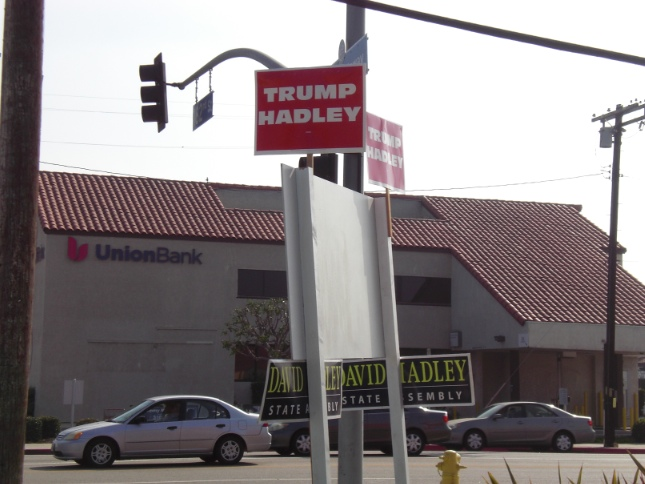 """Trump-Hadley"" signs from the Muratsuchi campaign on the corner of Western Avenue and 182nd Street in Gardena. (J.K. YAMAMOTO/Rafu Shimpo)"