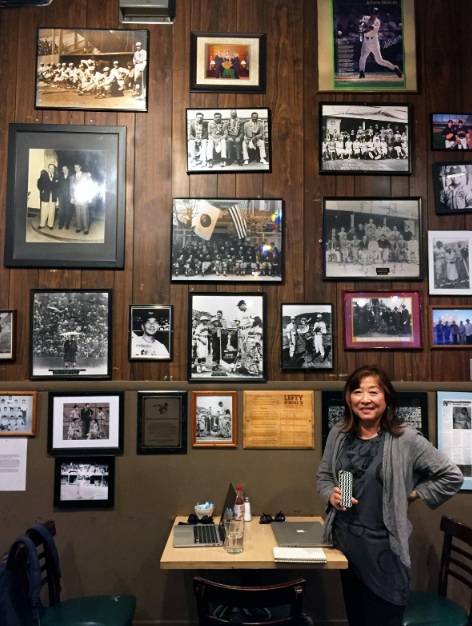 """The """"Japan Wall"""" at Lefty O'Doul's in San Francisco is covered with U.S.-Japan baseball photos, including one of Wally Yonamine. The 1949 San Francisco Seals Tour and Babe Ruth with the 1934 tour are also represented on the wall."""