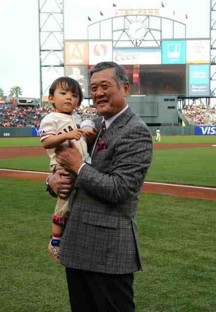 Masanori Murakami and his grandson at AT&T Park.