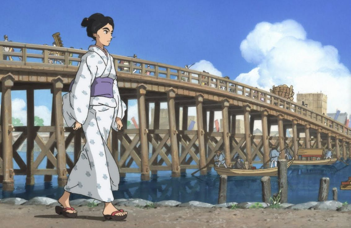 "O-Ei (voiced by Anne Watanabe) in a scene from Keiichi Hara's ""Miss Hokusai."""