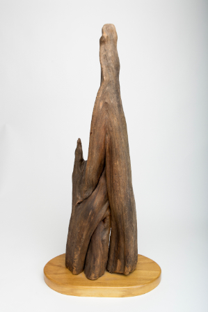 World War II-era wood sculpture by Takekuma Norman Takei, George's father, made while incarcerated at Rohwer.