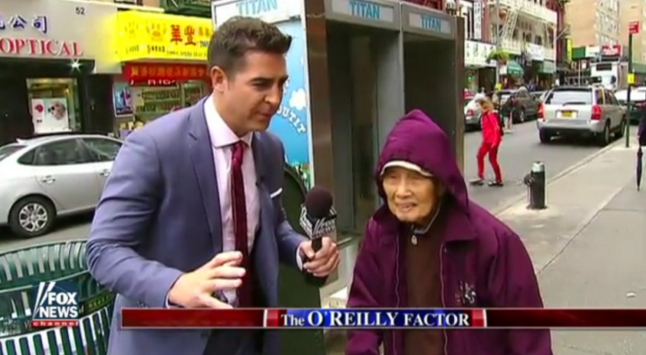 """O'Reilly Factor"" correspondent Jesse Watters accosted non-English-speaking and limited-English-speaking immigrants in his Chinatown segment."