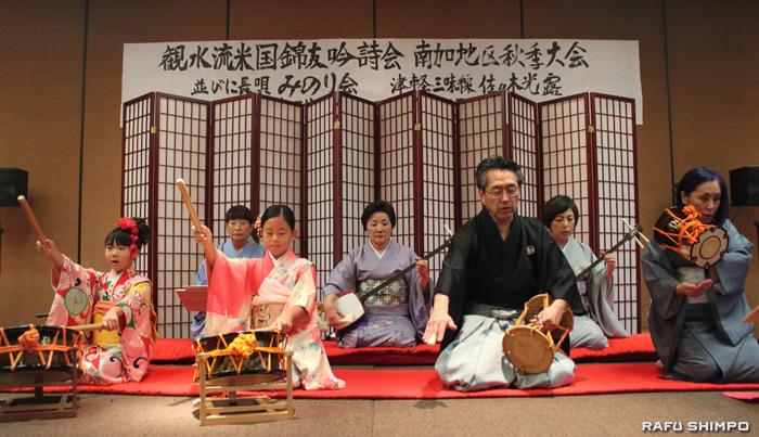 「五郎時致」を演奏する長唄「みのり会」のメンバー