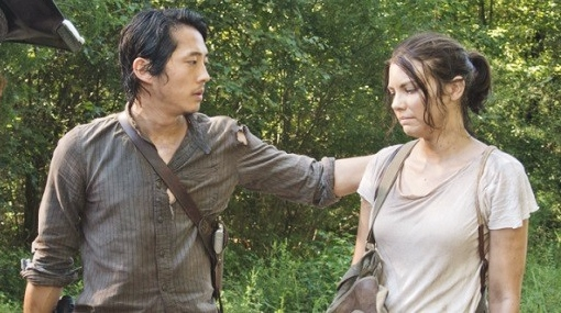 "Glenn and Maggie from ""The Walking Dead."""