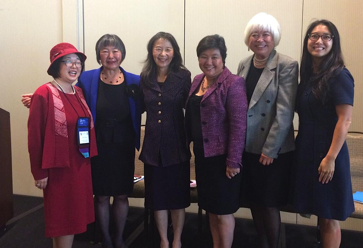 From left: Emily Murase, San Francisco Board of Education; former Assemblymember Mariko Yamada; Yoriko Kishimoto, former mayor of Palo Alto; Mountain View City Councilmember-elect Margaret Abe-Koga; South San Francisco City Councilmember Karyl Matsumoto; and Aimee Sueko Ng, Oakland Board of Education.