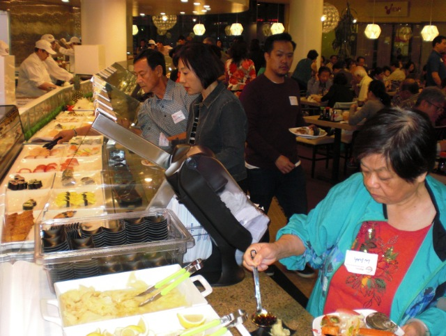 The buffet line at Makino Puente Hills is 150 feet long and features 120 types of dishes.