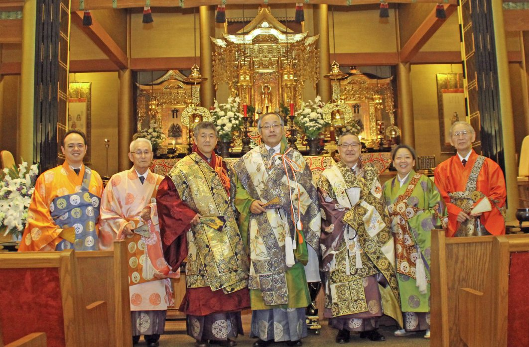 From left: Rev. Kory Quon, Rev. George Shibata, Rev. John Iwohara, Bishop Kodo Umezu, Rev. Nobuo Miyaji, Rev. Naomi Nakano, and Rev. John Doami.