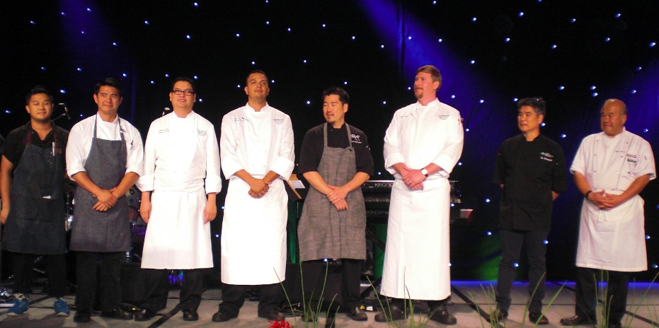The evening's chefs were introduced on stage.