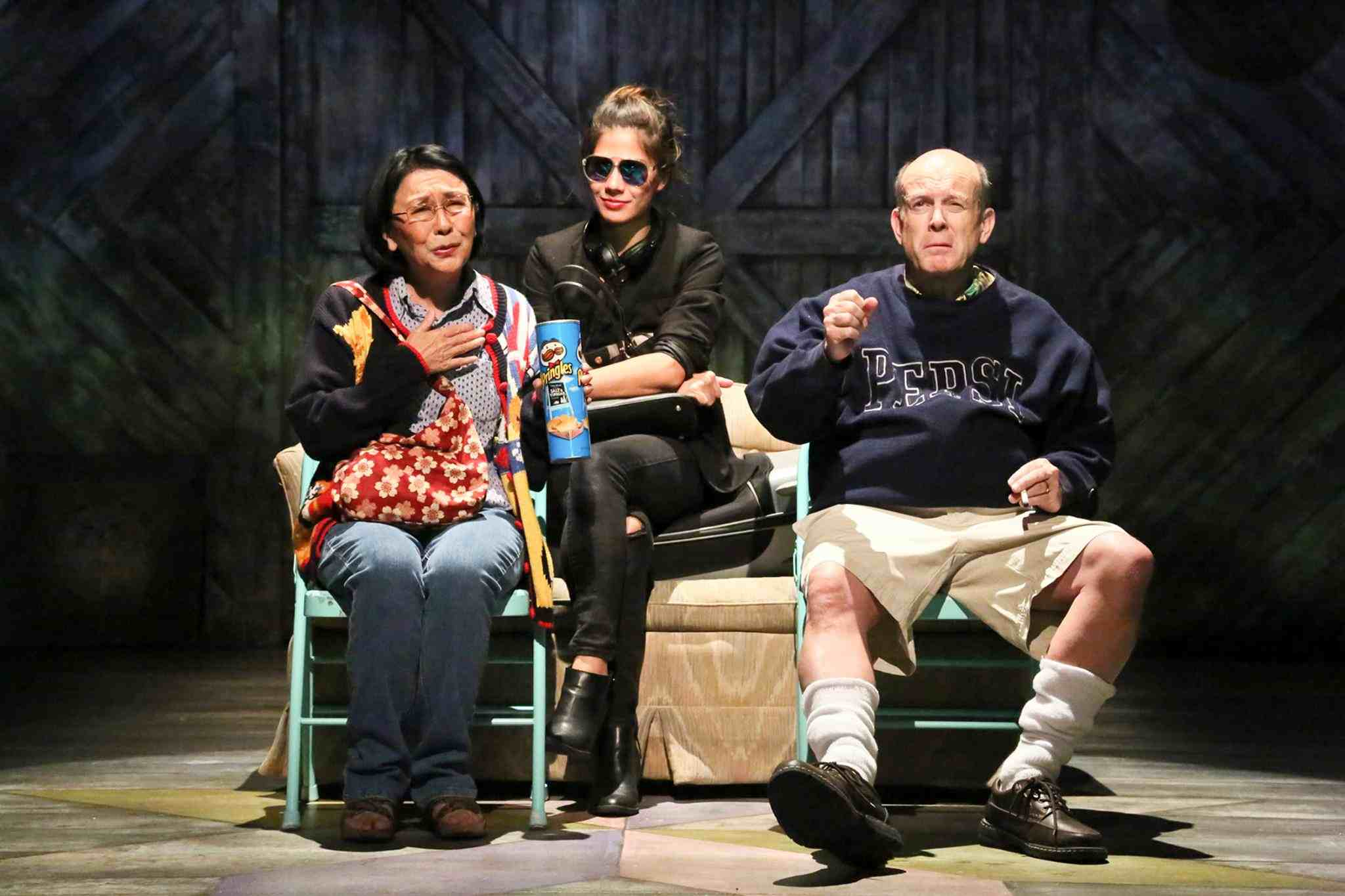 "Dian Kobayashi as Masako, Jessica Jade Andres as Hiro, and James B. Harnagel as James in East West Players' production of ""Kentucky."" (Photo by Michael Lamont)"