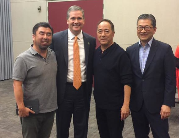 Assemblymember David Hadley with some of his Asian American supporters, including Jon Kaji (right).