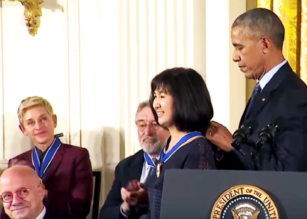Maya Lin receives the Presidential Medal of Freedom from President Obama as other recipients, including Ellen DeGeneres and Robert DeNiro, look on. (whitehouse.gov)